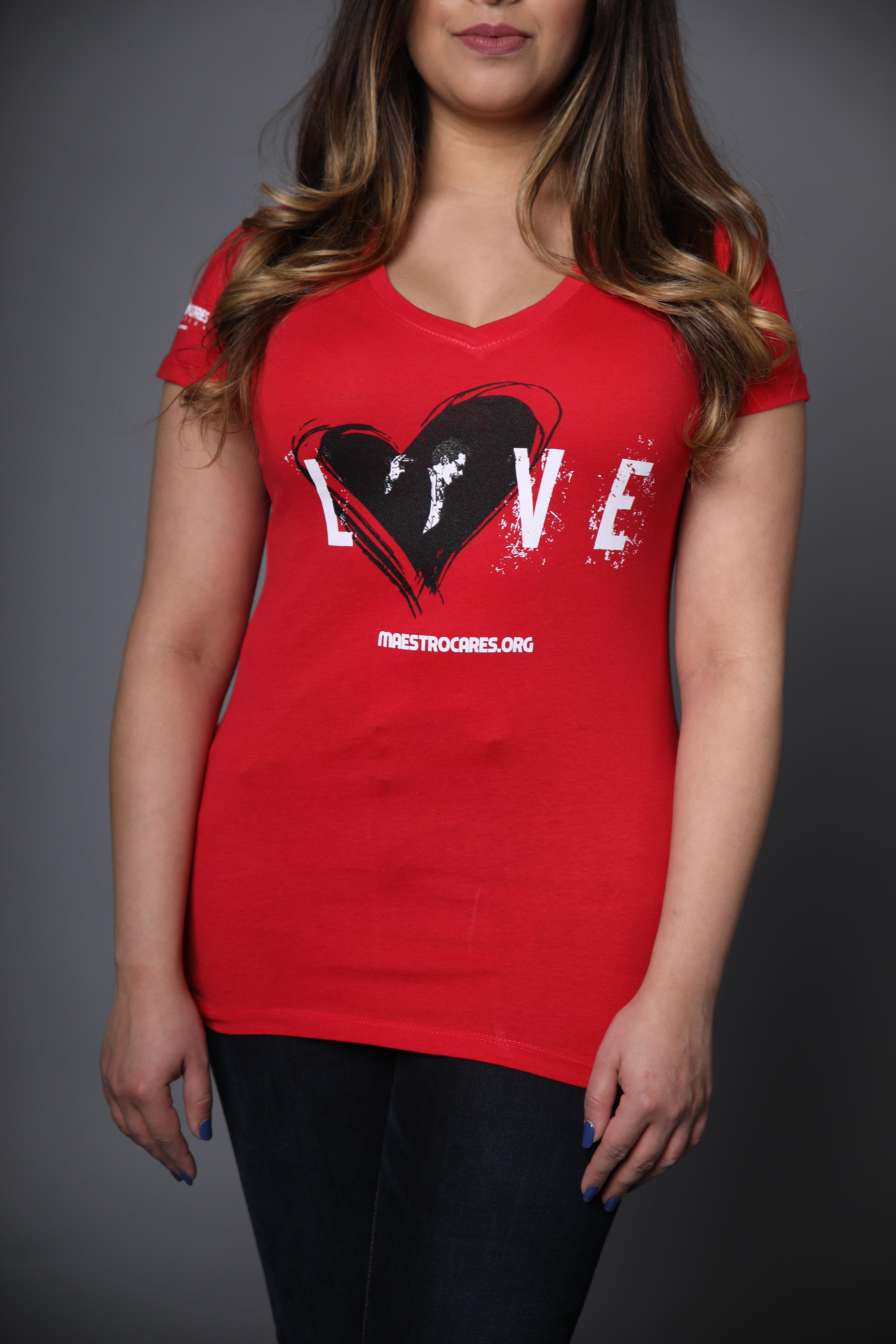 Women's MC Loves Marc Anthony V-Neck Shirt (Red)