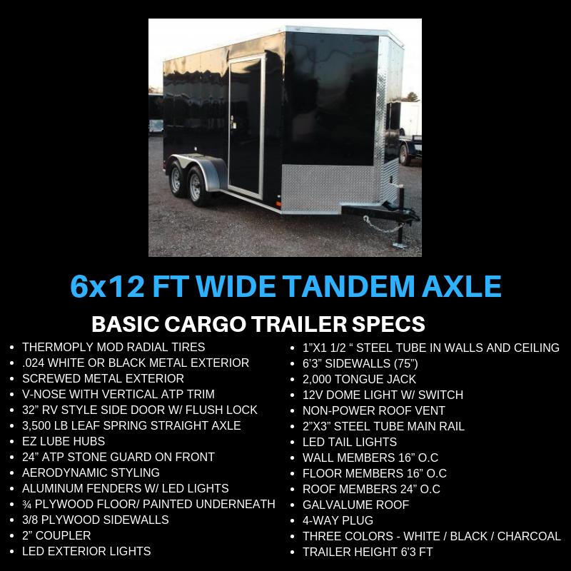 6x12 Tandem Axle Cargo Trailer For Sale 2800 00