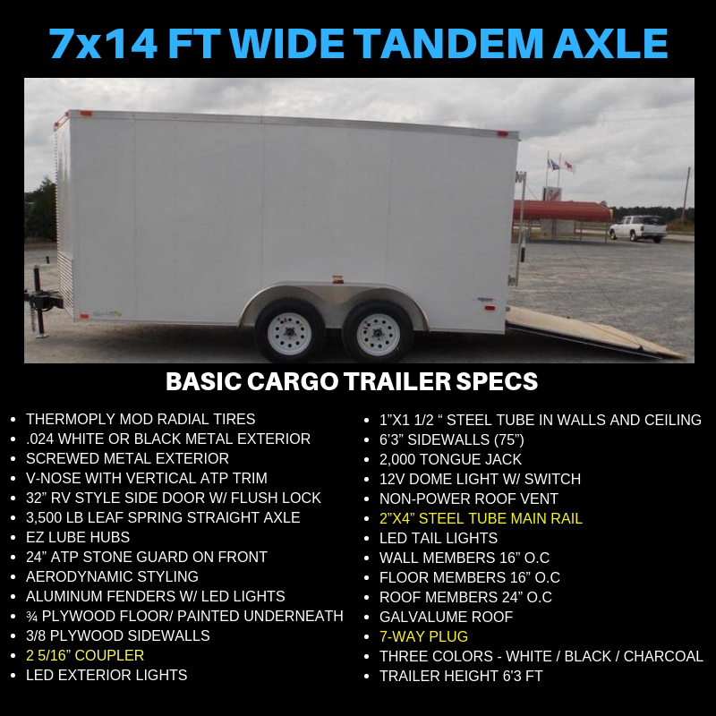 7x14 Tandem Axle Cargo Trailer For Sale