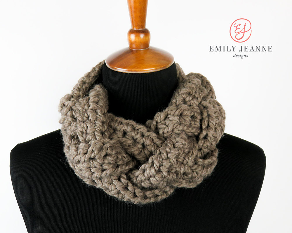 Taupe Braided Crochet Cowl Infinity Scarf