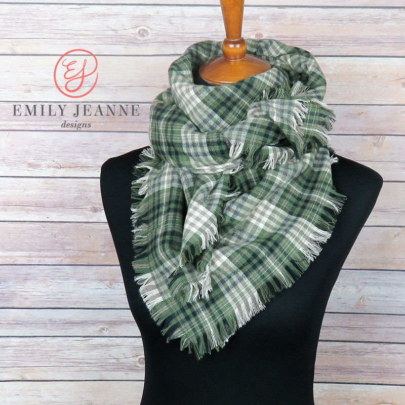 bd67aba81dcfb Plaid Blanket Scarf | Soft Olive Green, Creamy White, Tan, and Black Plaid  Flannel Scarf