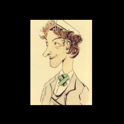 Unrasierter Student in Couleur Karikatur um 1910