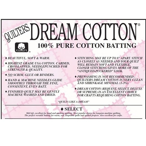 Double Natural Select Cotton Batting by Quilters Dream 96 x 93