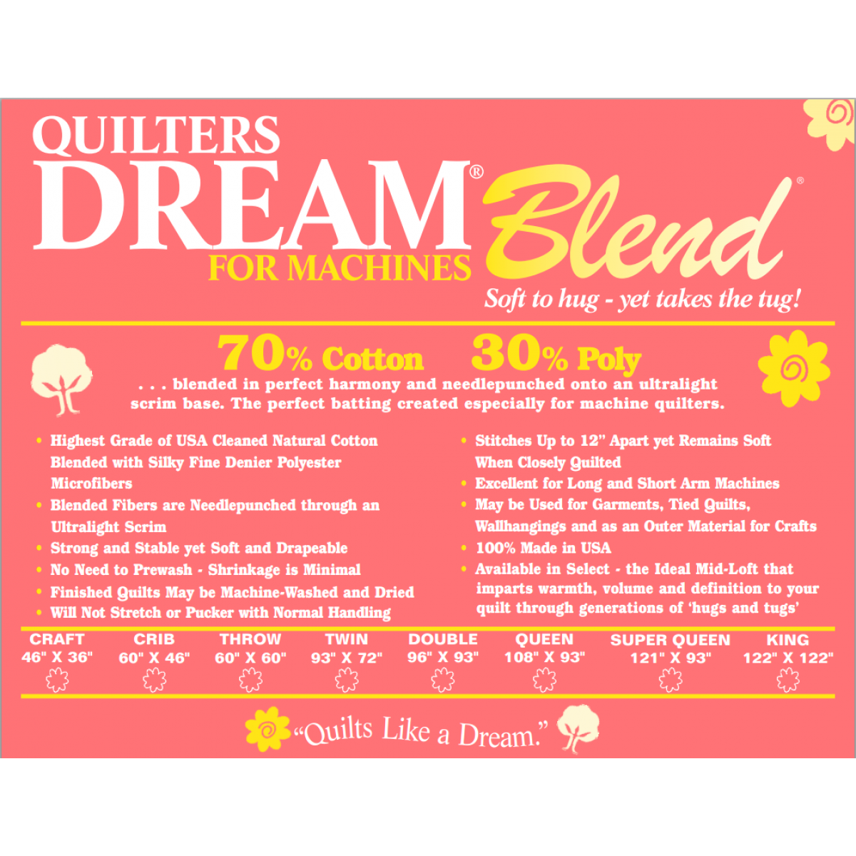 Queen Dream Blend Select for Machines Midloft by Quilters Dream