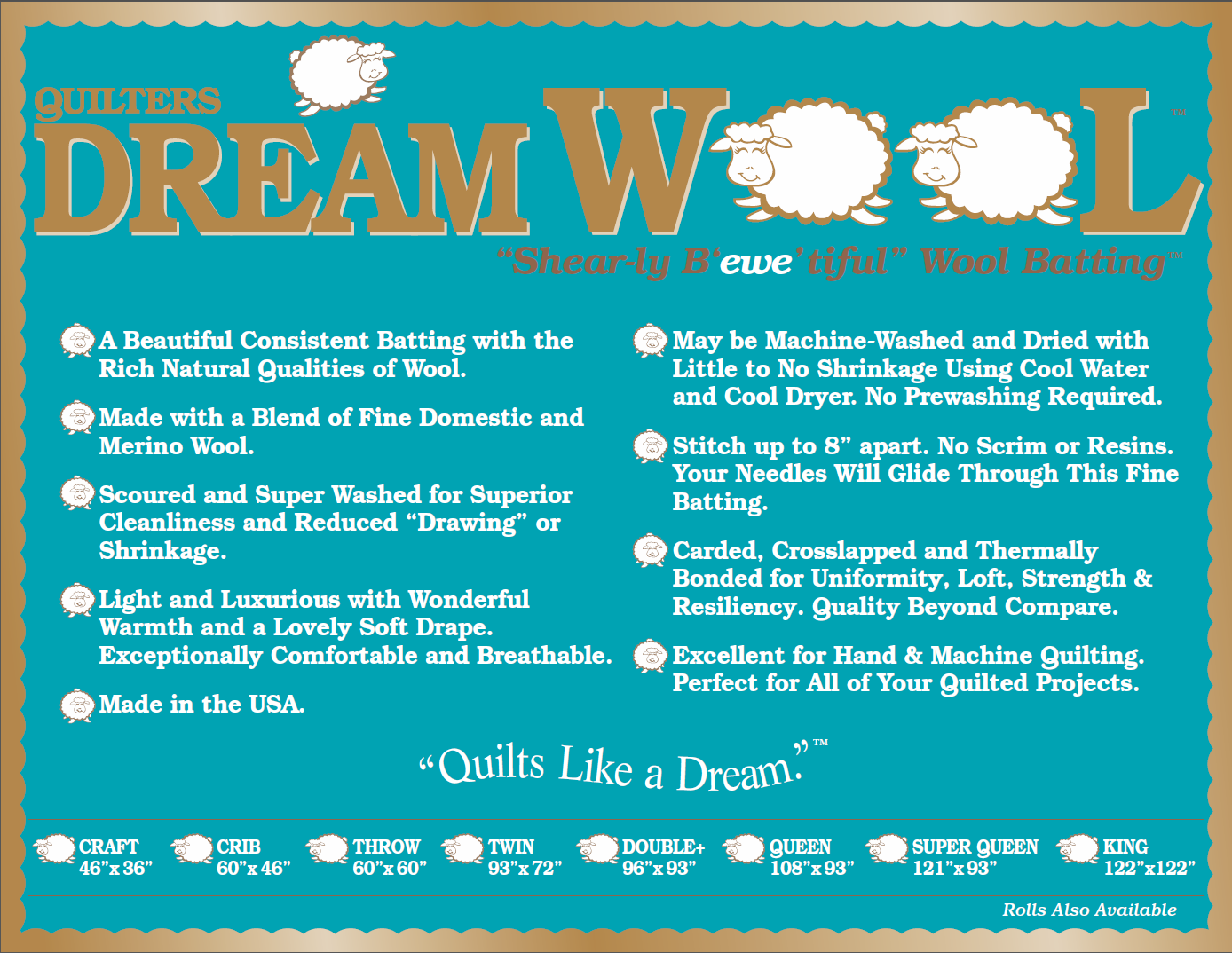 Queen Dream Wool by Quilters Dream