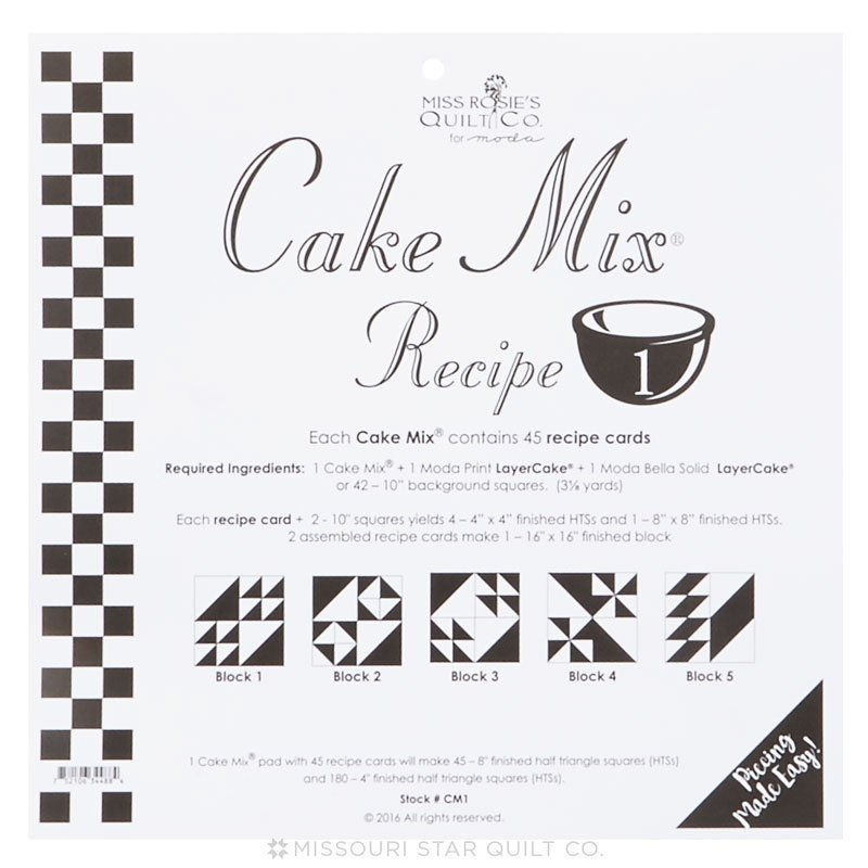 Cake Mix Recipe No. 1 - 44 Recipe Cards by Miss Rosie's Quilt Co