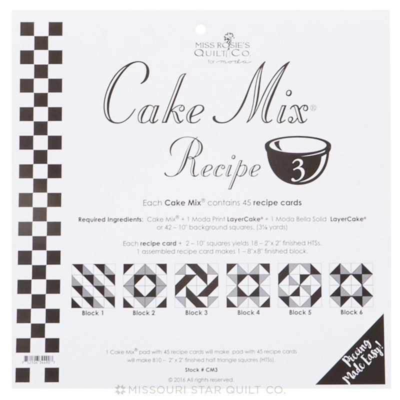 Cake Mix Recipe No. 3 - 44 Recipe Cards by Miss Rosie's Quilt Co
