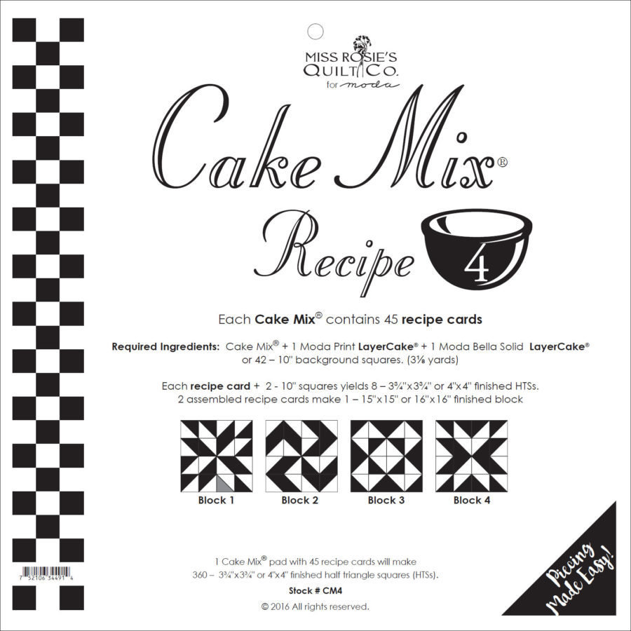 Cake Mix Recipe No. 4 - 44 Recipe Cards by Miss Rosie's Quilt Co
