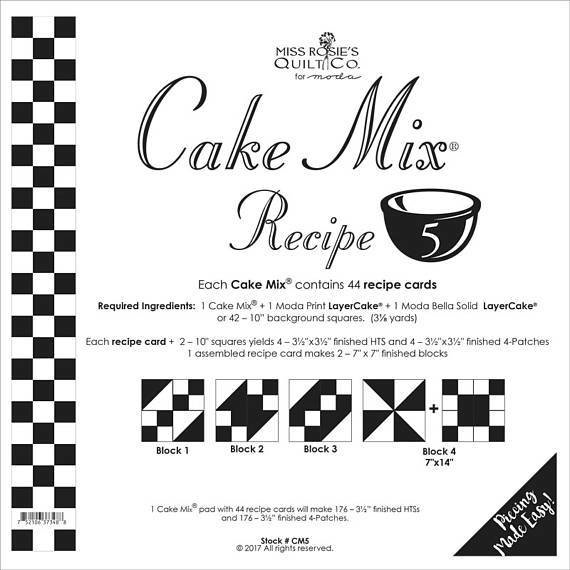 Cake Mix Recipe No. 5 - 44 Recipe Cards by Miss Rosie's Quilt Co