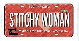 Row by Row 2017 - Stitchy Women Fabric License Plate