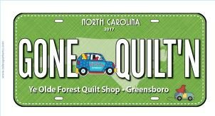 Row by Row 2017 - Gone Quilting Fabric License Plate