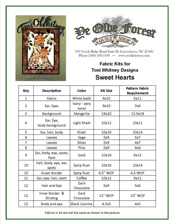 Sweet Hearts Giraffe Fabric Kit