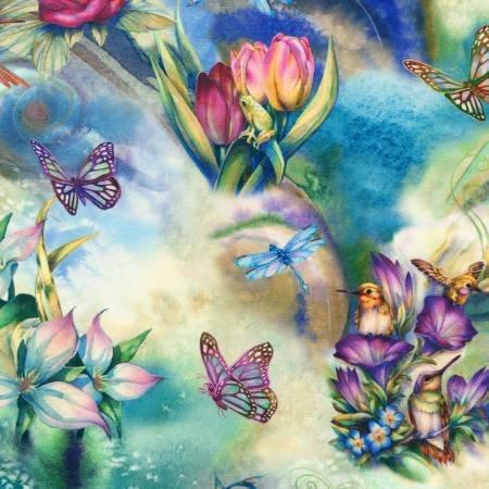 xxx Garden Hummingbirds, Frogs & Butterflies Digitally printed