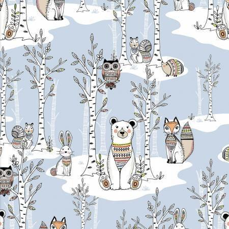 Xxx Blue Forest Woodland Tribe Fabric by the Yard