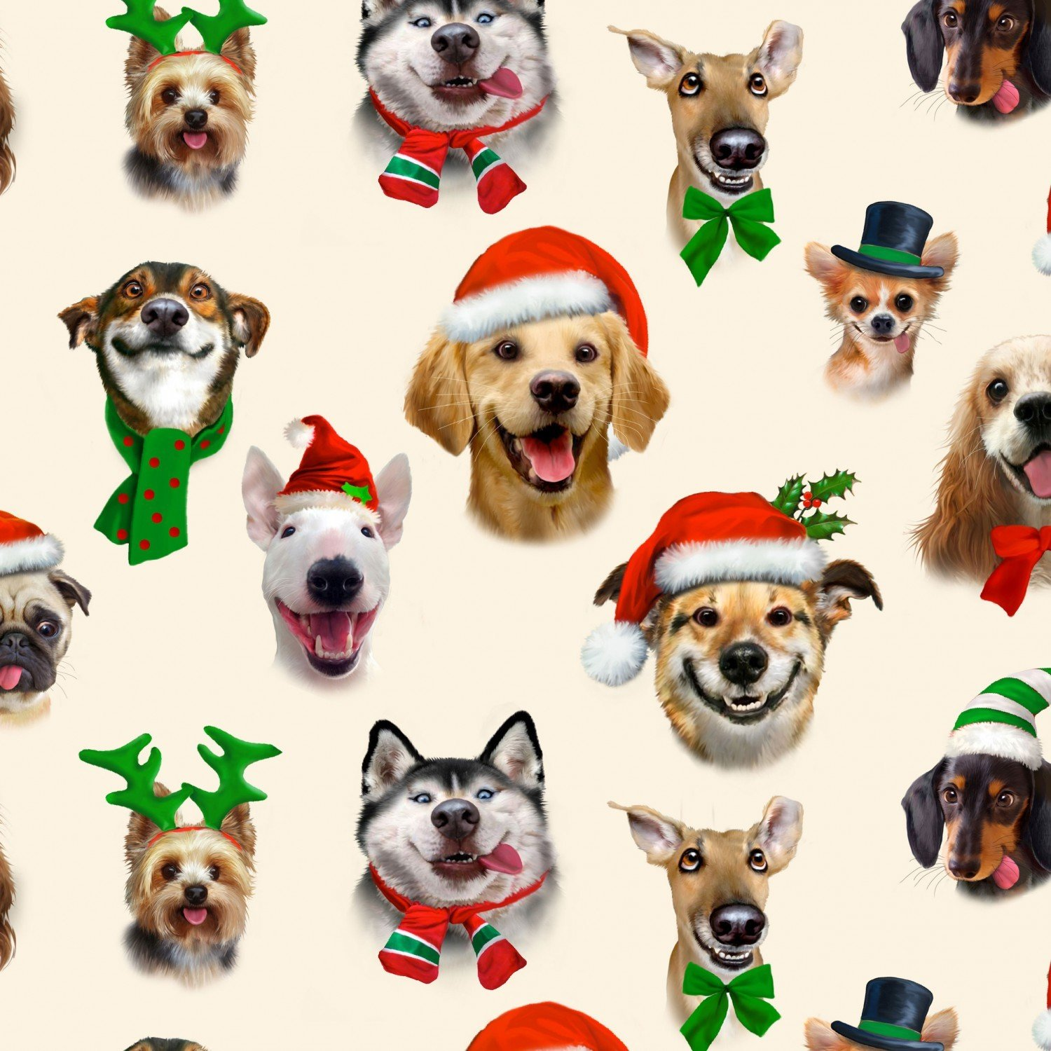 Xx Cream Dog Christmas Selfies Fabric by the Yard