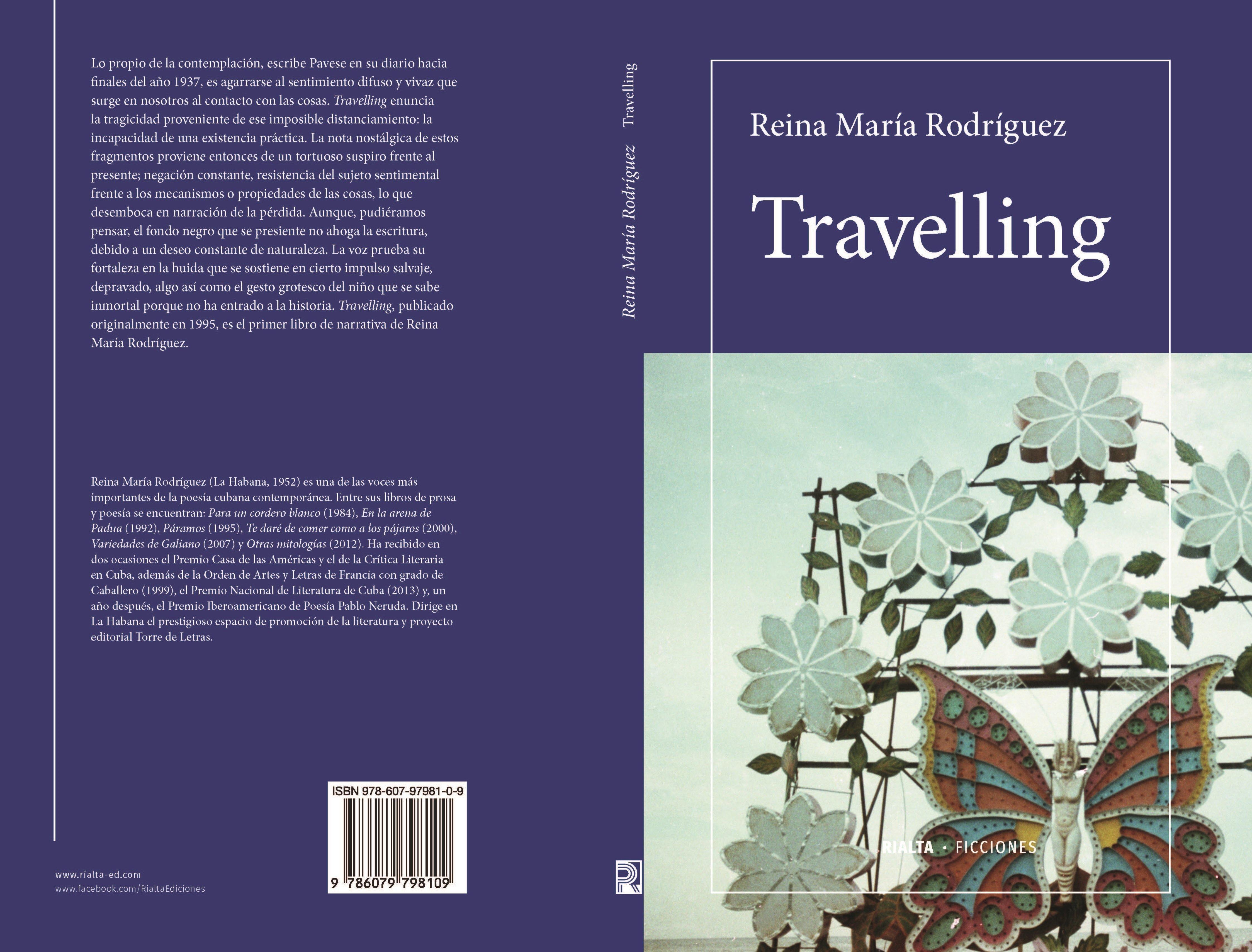 Cubierta Travelling, de Reina María Rodríguez (pliego)