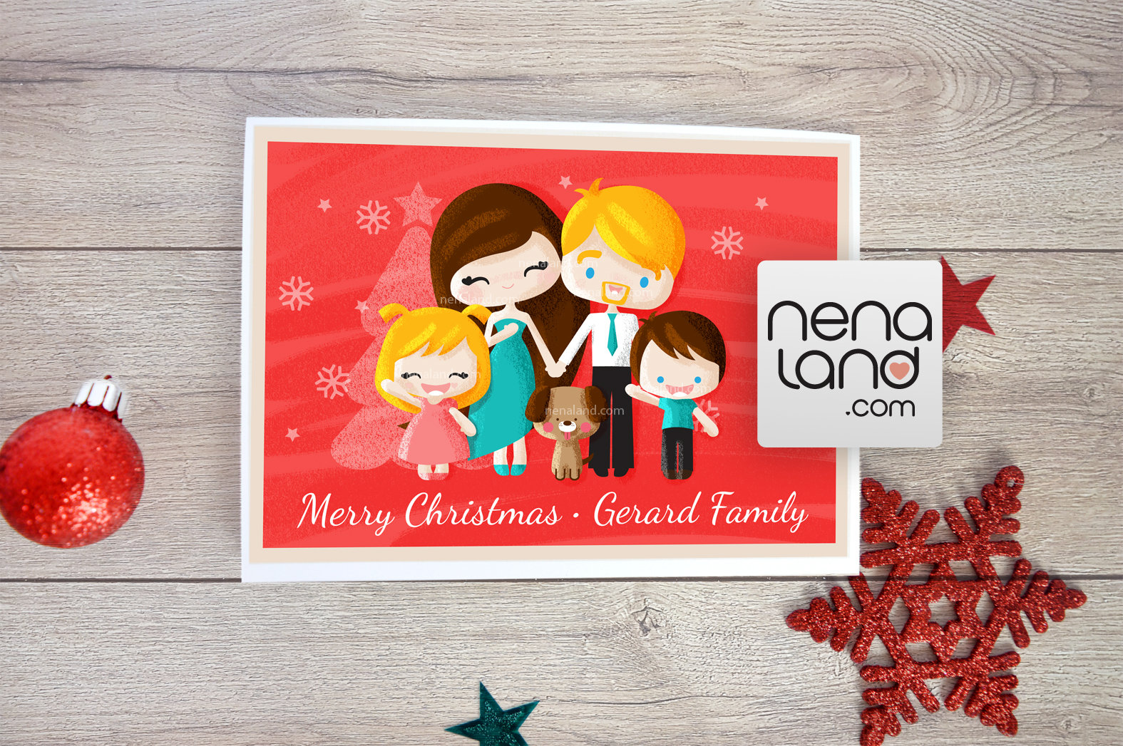 Get a family illustrative portrait this holiday 00033 family pet portrait cute christmas card illustration portrait digital file happy kristyandbryce Image collections