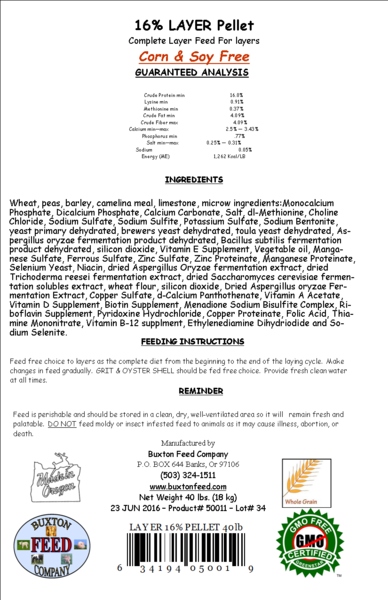 Layer Pellets 16% - 40lbs 00021
