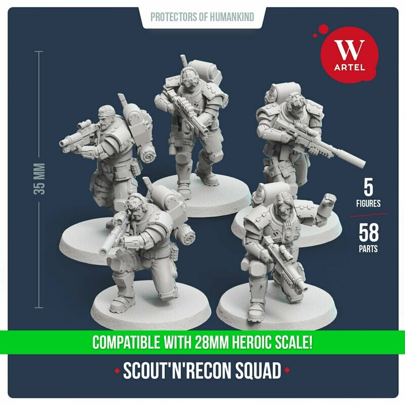 Scout`n`Recon Squad 28mm scale (5 scouts)