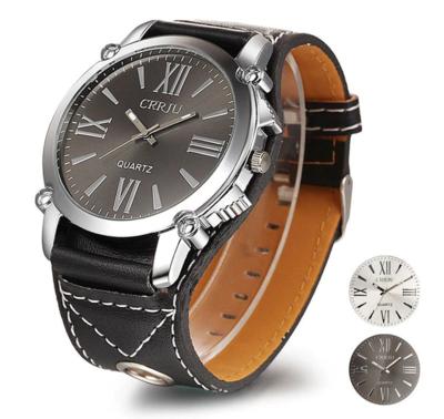 2019 Luxus Lederband Quarz Analog Armbanduhr Relogios Masculinos Business Uhren Herren Römische Große Zifferblatt Uhren Uhren