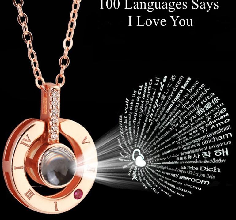 Geschenk für Freundin 100 Sprachen sagt, ich liebe dich Projektion Halskette Valentinstag Geschenk vorhanden