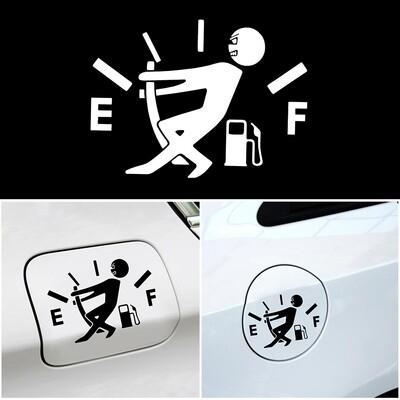 1 stücke lustige auto aufkleber ziehen kraftstofftank zeiger auf volle Hellaflush reflektierende vinyl aufkleber auto aufkleber großhandel