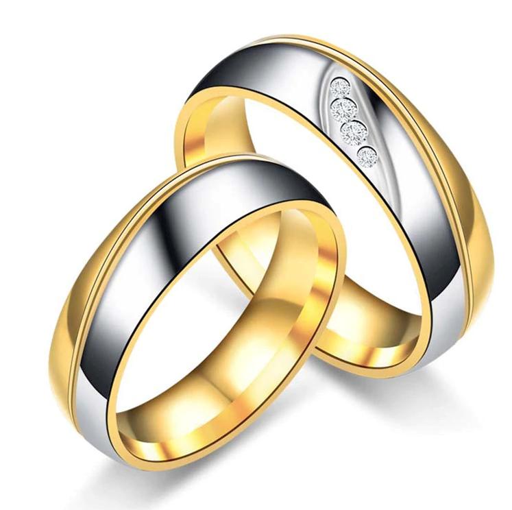 Romantische Hochzeit Ringe für Goldliebhaber Farbe Verlobungsringe aus Edelstahl Verlobungsfeier für Hochzeit Brautschmuck