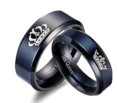 Paar Edelstahlringe haben einen König und seine Königin Ringe für Liebhaber der eleganten schwarzen Hochzeit Ringen Frauen Hochzeitstag
