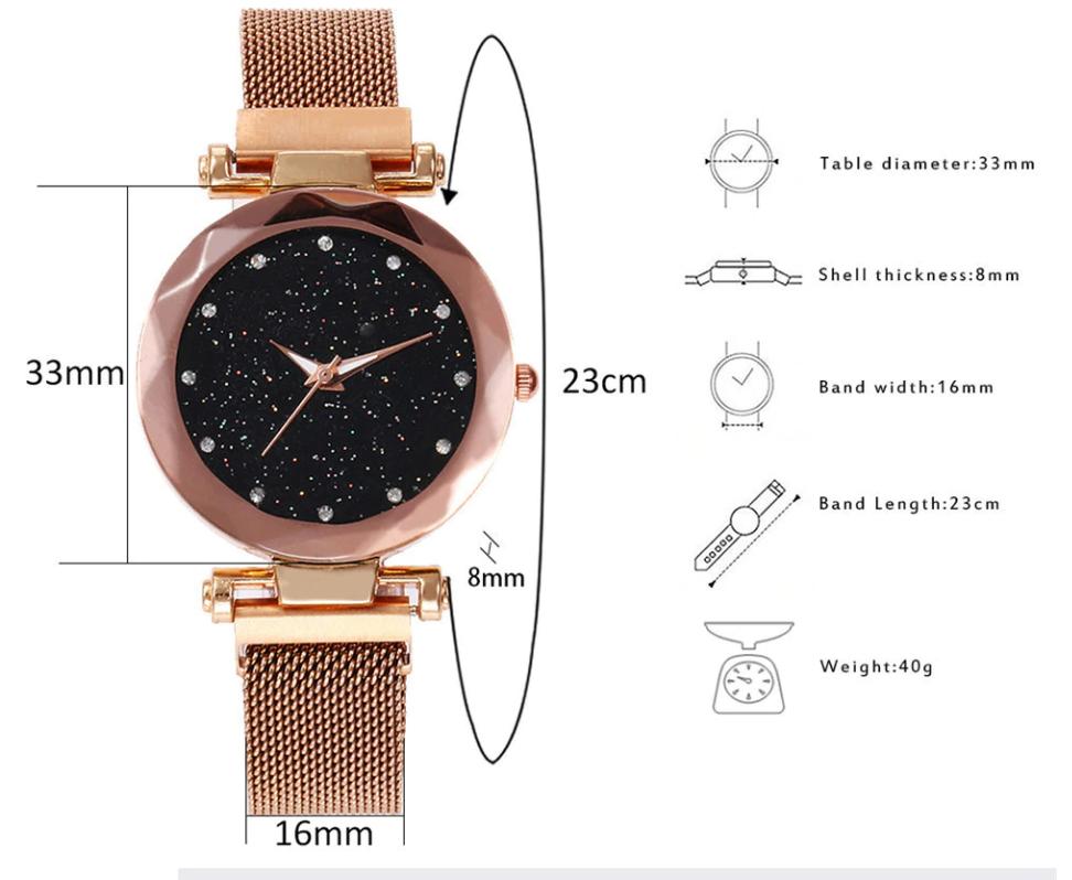 Damen Sternenhimmel magnetische Luxusuhr Schnalle versenkbare Quarz Armband weibliche Armbanduhr Rotgold Diamant Armbanduhren Zegarek Damsk
