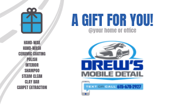 Drew's Mobile Detail $135 Gift Card