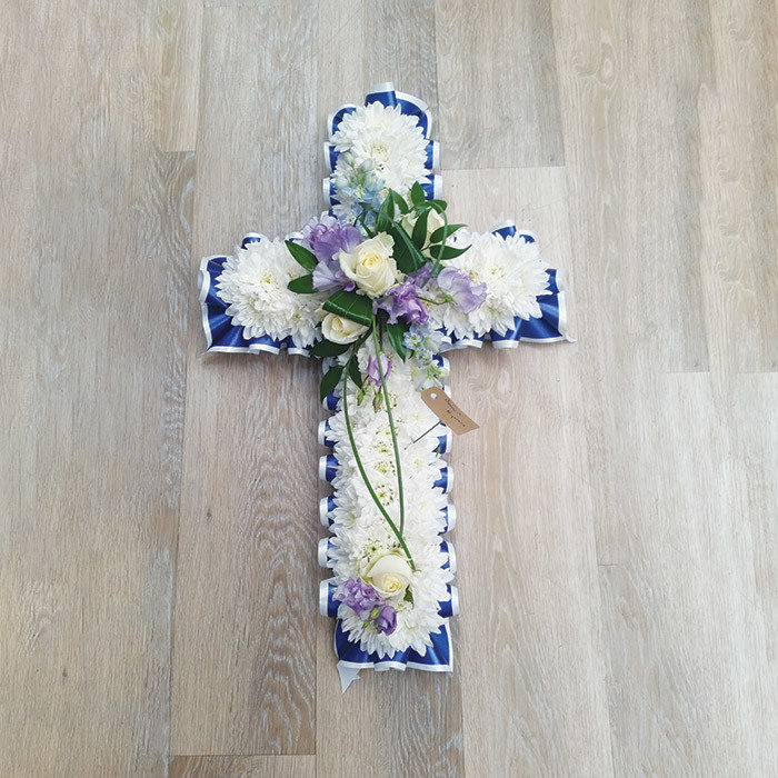 Cross with Blue or Pink Ribbon Edge and Sprays
