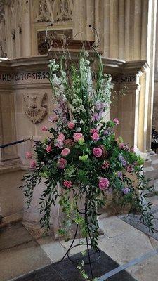 Large modern pink  & lilac pedestal