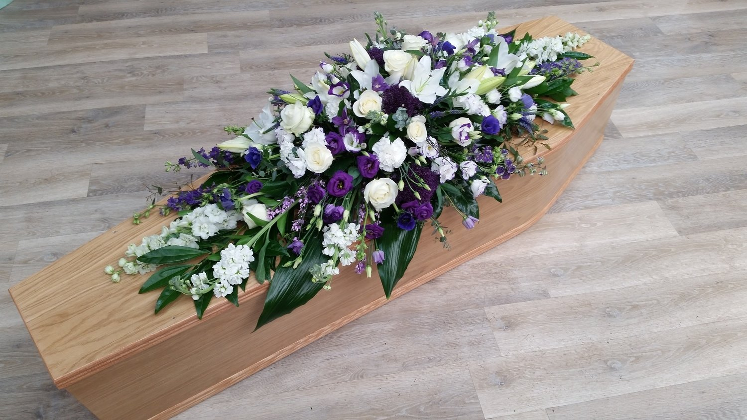 Purple & White Coffin Spray