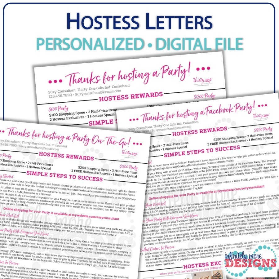 Letter Party Hostess Packet Wwwtopsimagescom