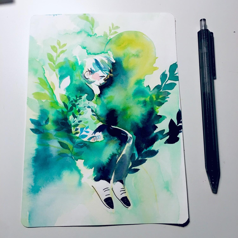 Green Leaves Sketchbook Original
