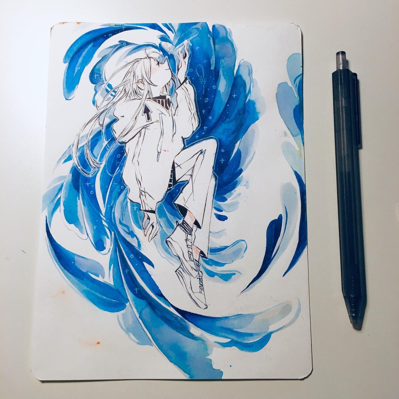 Falling Feather Sketchbook Original