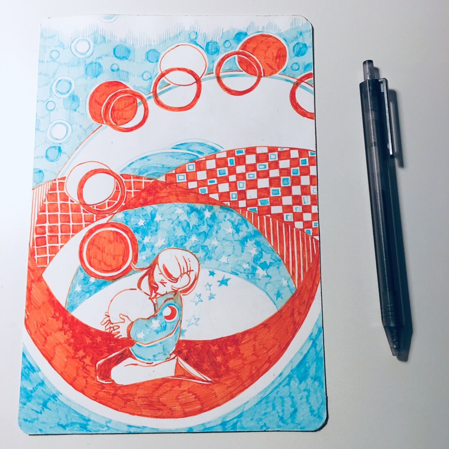 Orange Circles + Copper Leaves Sketchbook Original