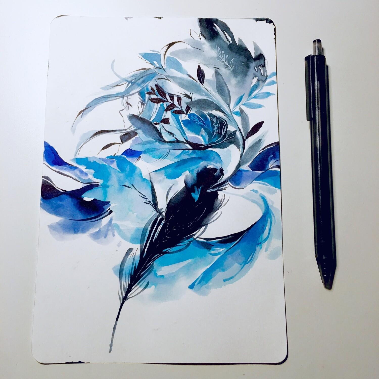 Blue Feather Sketchbook Original