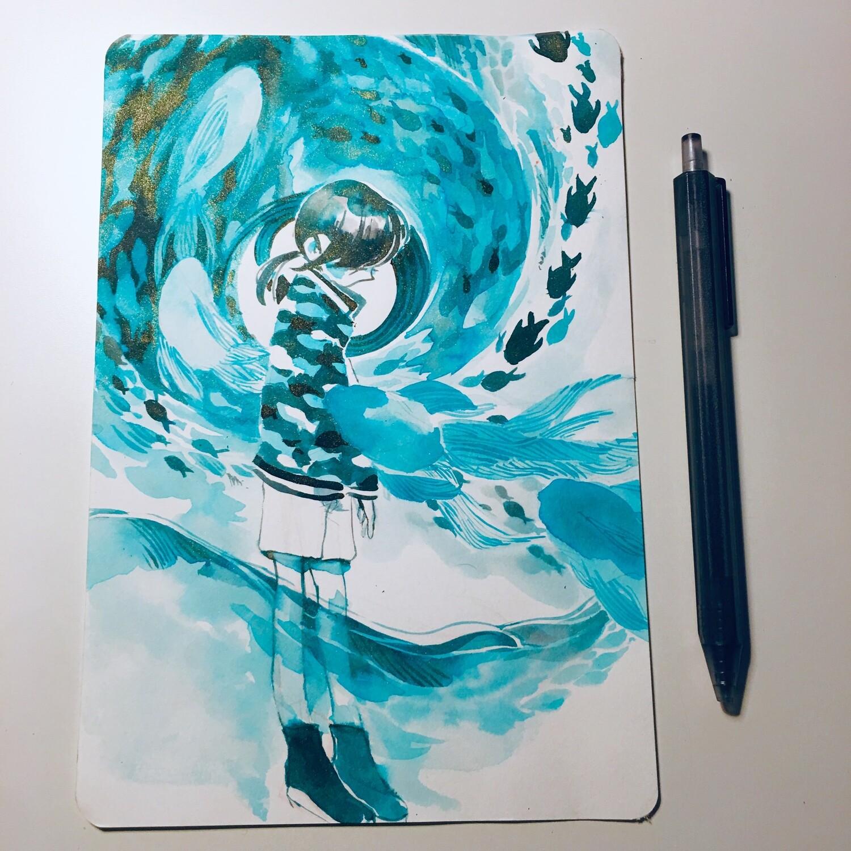 Teal Fish Sketchbook Original