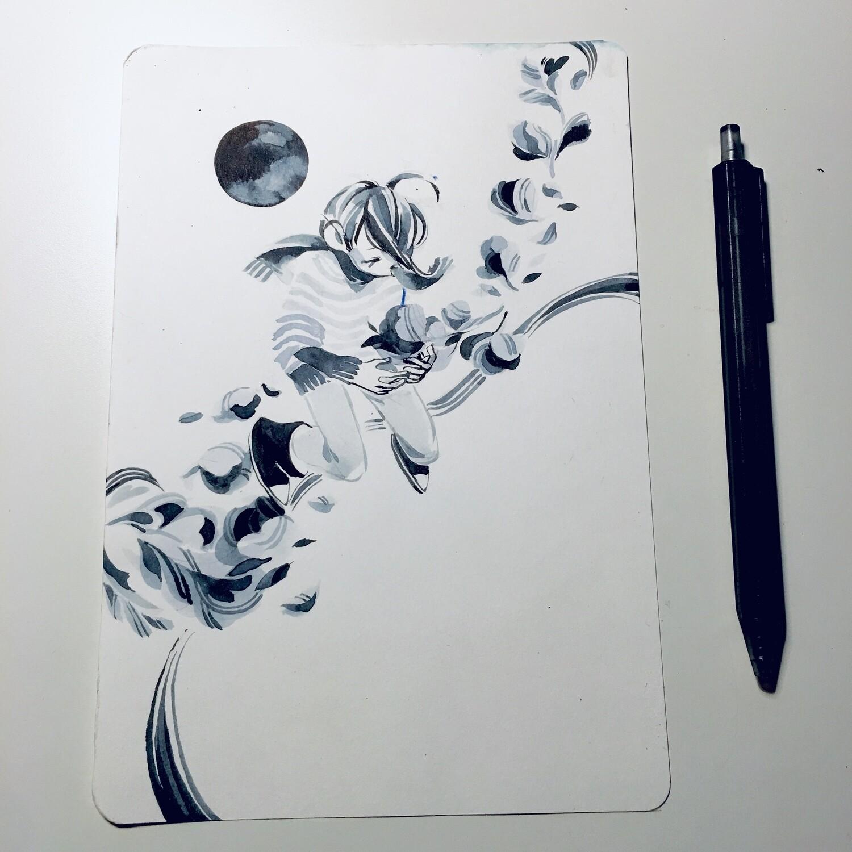 Black Petals Sketchbook Original