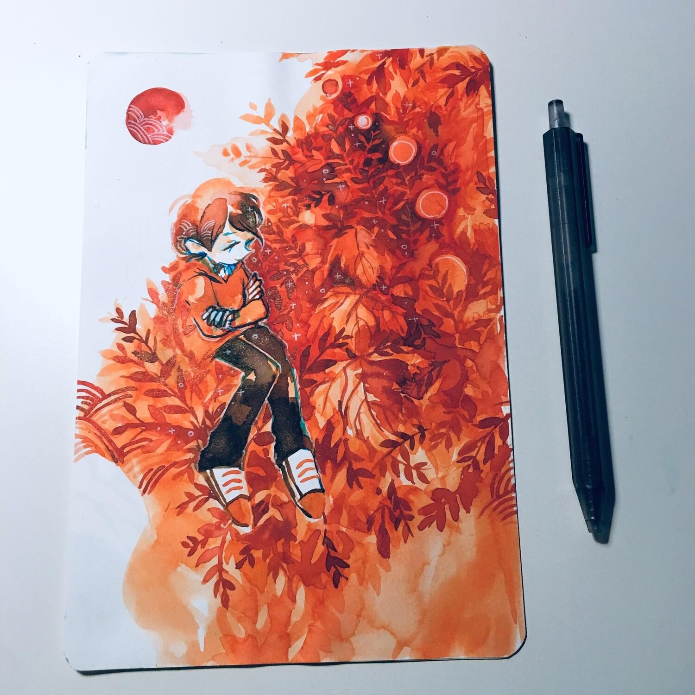 Orange Cycle Sketchbook Original