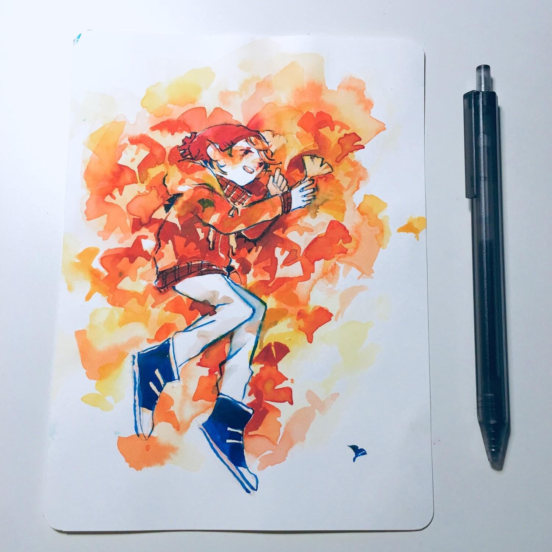 Fallen Ginkgos Sketchbook Original