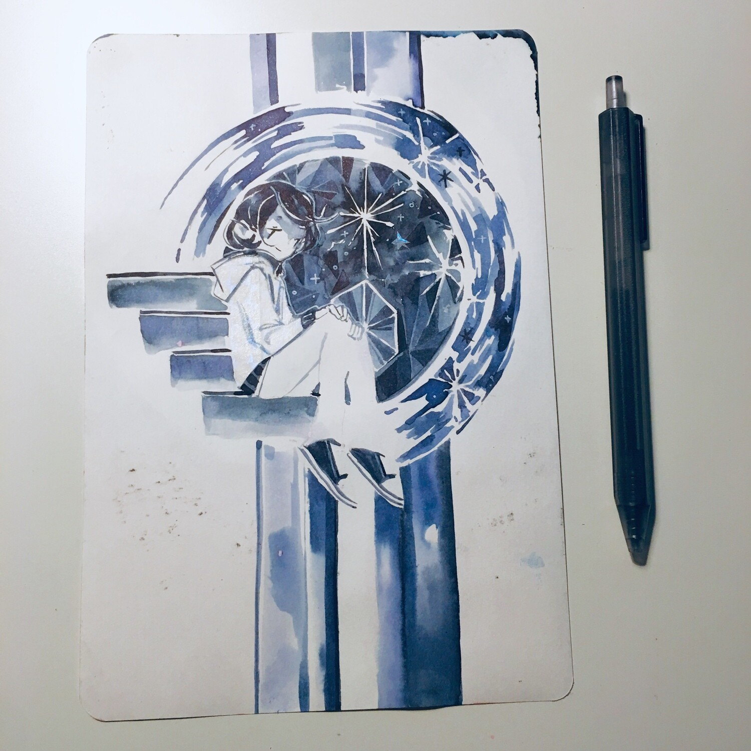 Crystal Blue + Orange Moon Sketchbook Original