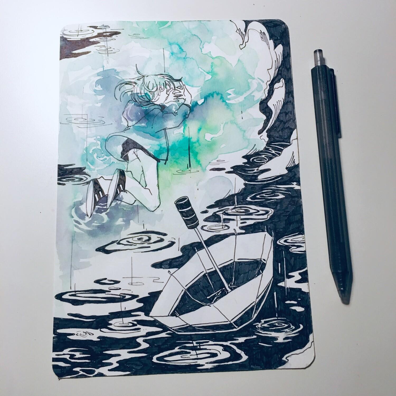 Catching Rain + Blue Petals Sketchbook Original