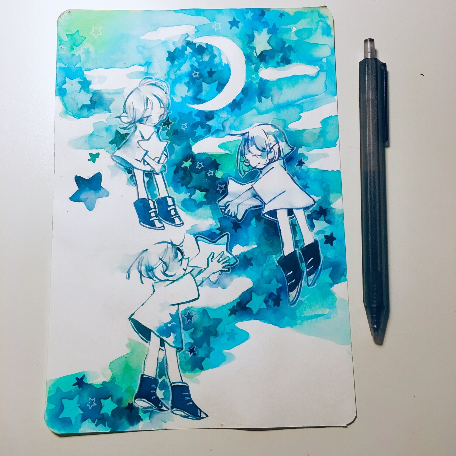 Catching Stars + Warm Night Sketchbook Original