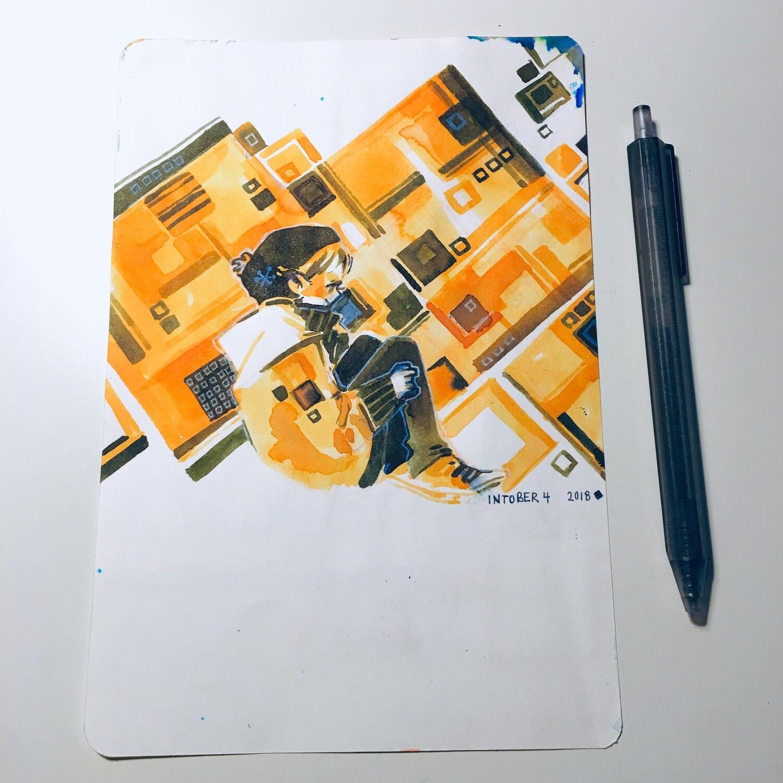 Yellow Cube + Orange Reader Sketchbook Original