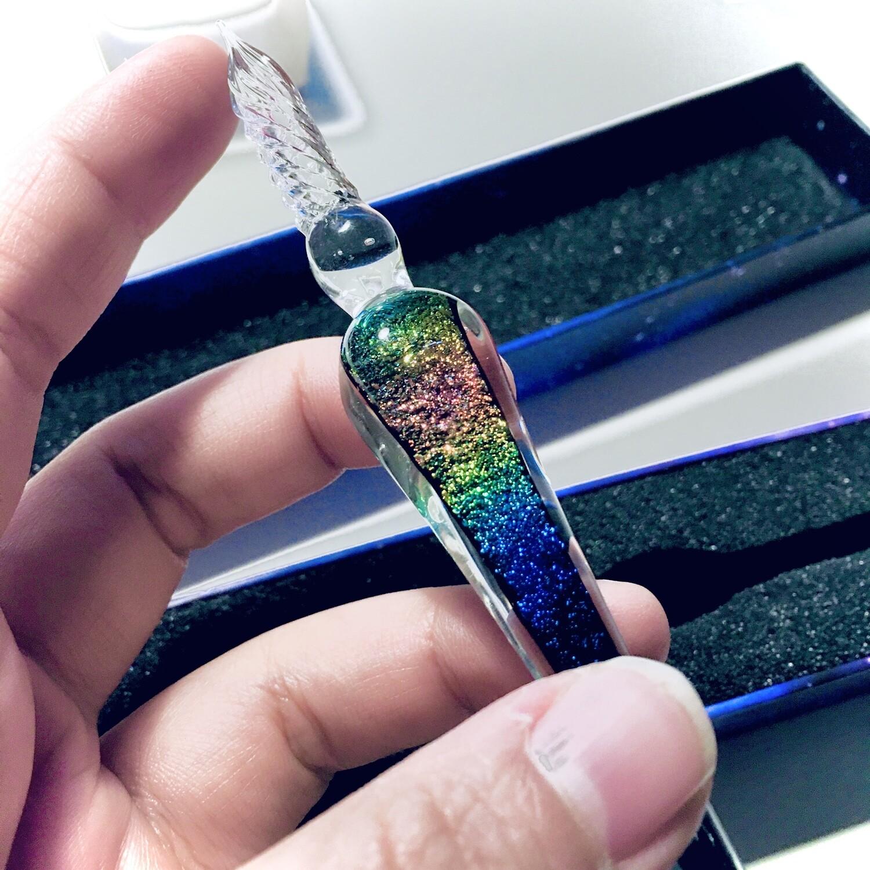 Rainbow Galaxy Glass Dip Pen