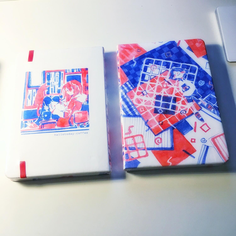 Blue Orange PU Leather Sketchbook