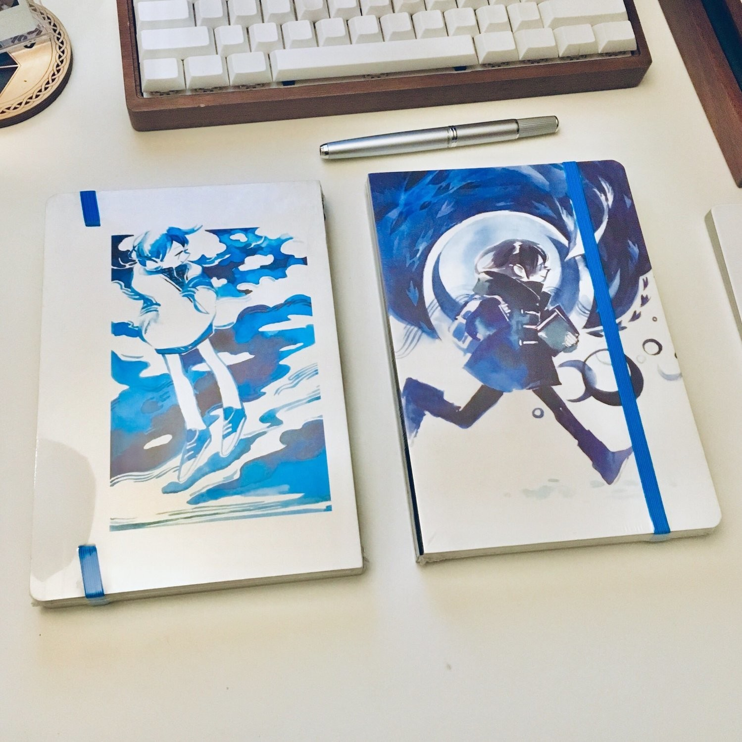 Sky Moon Cloth Spine Grid Notebook