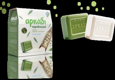 Гръцки перилен препарат Arkadi Classic, прах, за цветни и бели дрехи, 0,750 кг, противоалергенен, с био съставки